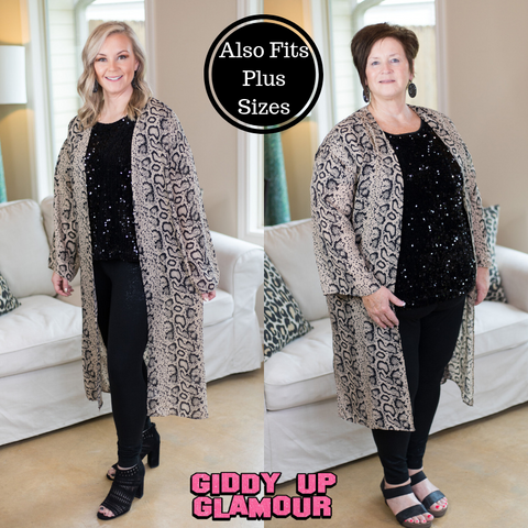 Close Enough Snakeskin Midi Duster Kimono in Black