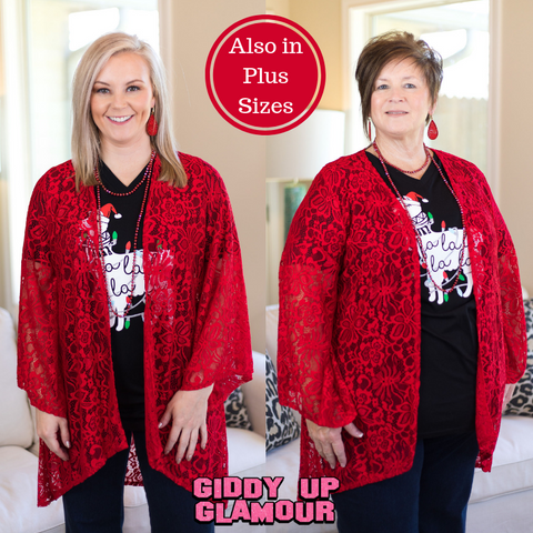 Only In Your Dreams Lace Kimono in Red