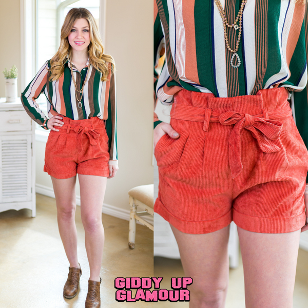 New Advantages Corduroy Paperbag Shorts in Rust Orange