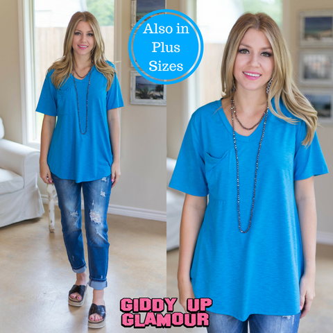 Just Right Short Sleeve Pocket Tee in Turquoise
