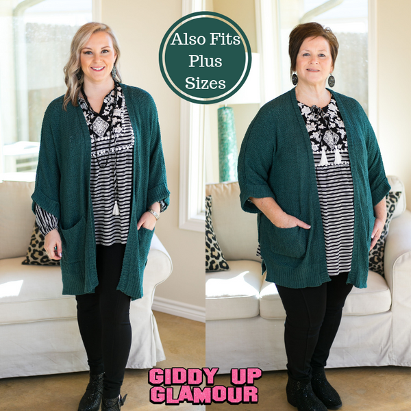 Warm Their Hearts Knit Cardigan with Pockets in Teal Green