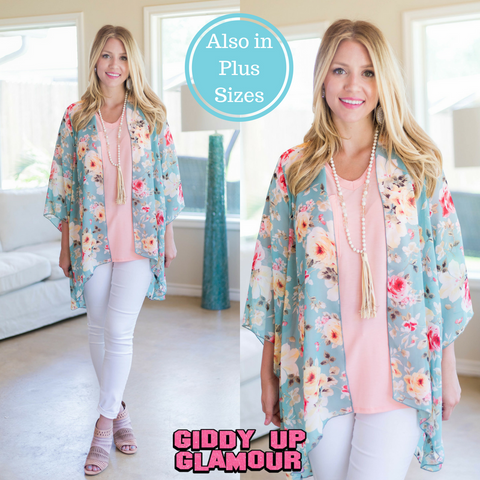 In Bloom With You Sheer Floral Kimono in Mint