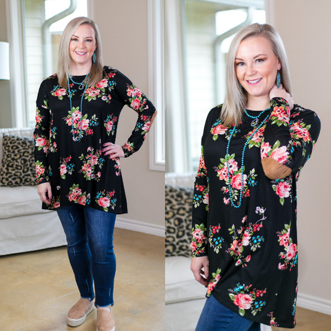 So The Story Goes Floral Tunic with Suede Elbow Patches in Black