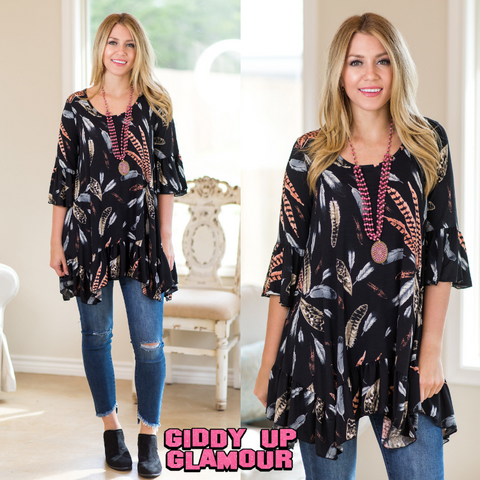 Changing Seasons Feather Tunic with Ruffle Hem in Black