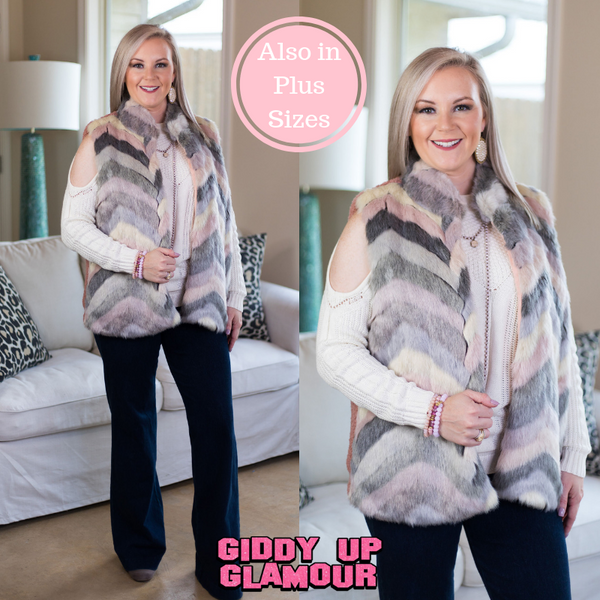 Out of Nowhere Multicolored Faux Fur Vest in Blush Pink