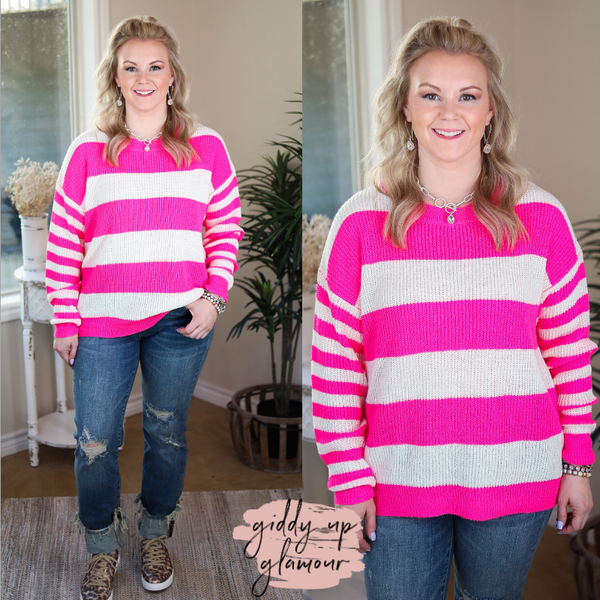 Pure Imagination Striped Long Sleeve Sweater in Neon Pink fuchsia and white striped shirt spring time lightweight sweater