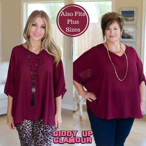 On The Line Sheer Oversized Poncho Top in Maroon