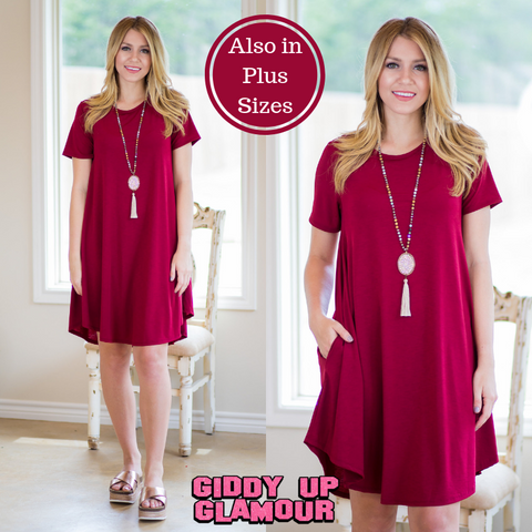 Simplicity is Key Short Sleeve Tee Shirt Dress in Maroon