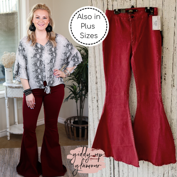 L&B | Here's The Deal Super Flare High Rise Bell Bottom Jeans in Maroon
