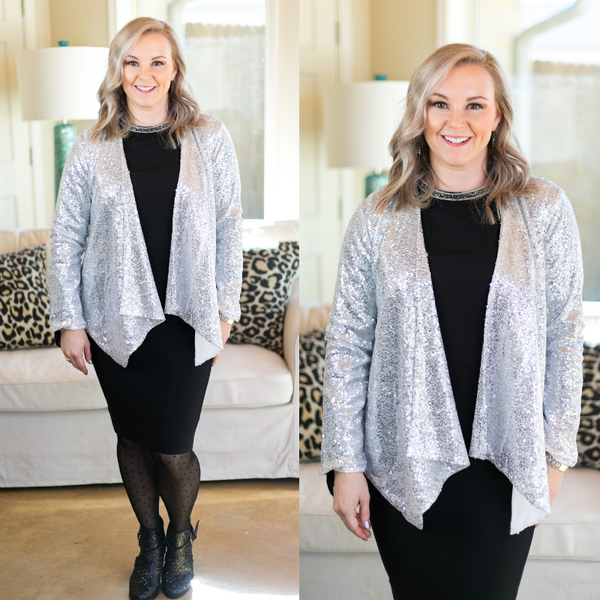 Glam Slam Sequin Blazer Jacket in Silver