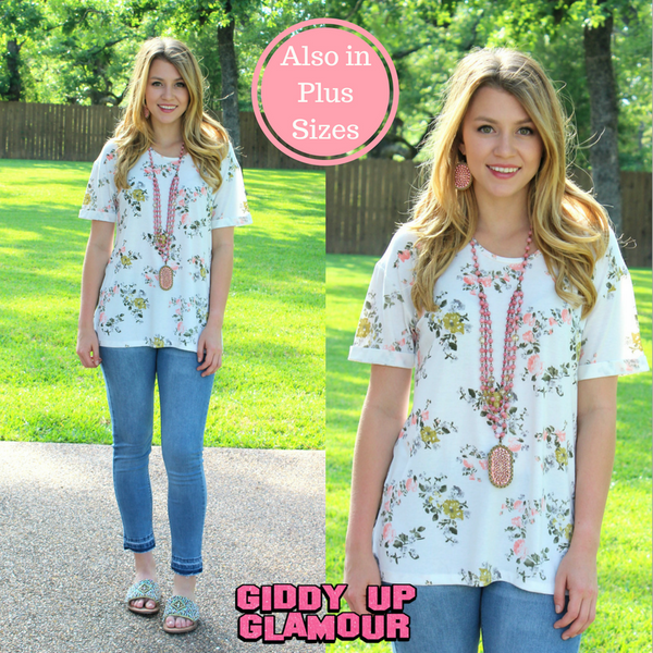 Spring is in the Air Floral Side Split Tee in White