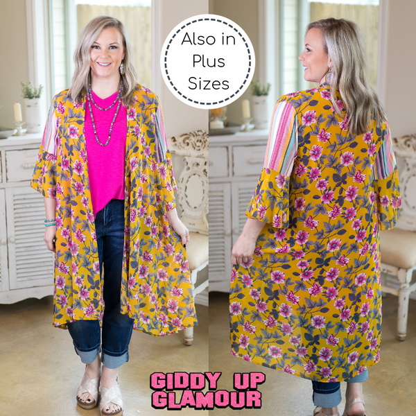 Sweet Sensation Floral Print Kimono in Mustard Yellow