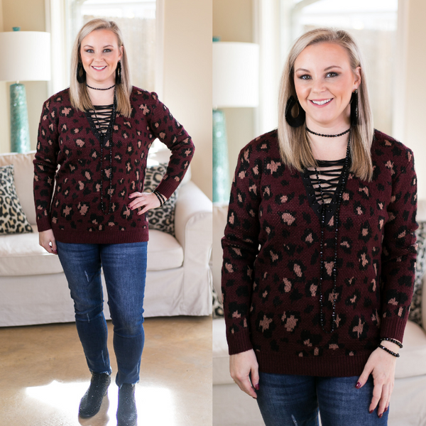 Close to Perfect Cheetah Print Lace Up Sweater in Maroon