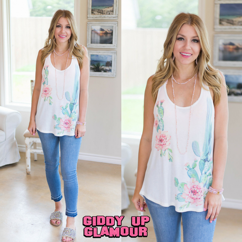 Got It Going On Blooming Cactus Tank Top in Ivory
