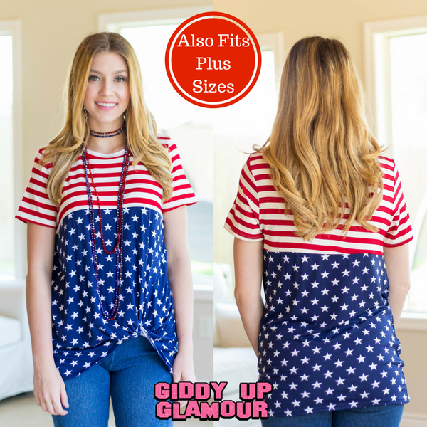 Cue The Fireworks Short Sleeve American Flag Tee with Side Knot