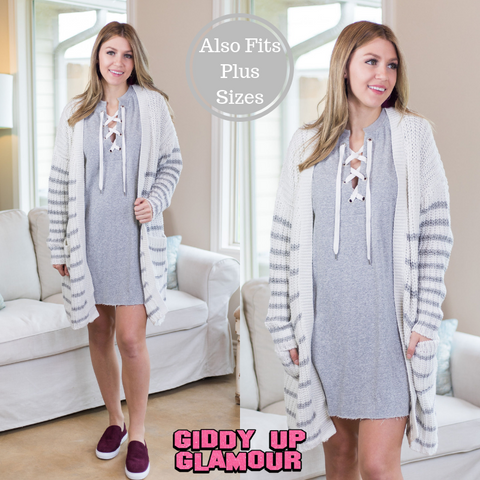 Always Together Stripe Knit Cardigan in Heather Grey