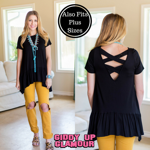 Start Your Day Ruffled Tunic with Criss-Cross Back in Black