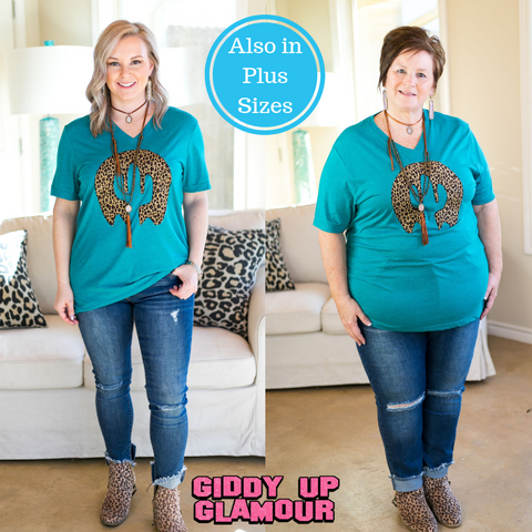 On The Horizon Leopard Print Cactus Tee Shirt in Teal