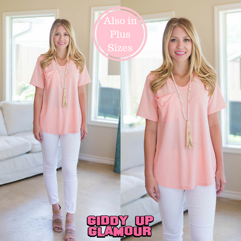 Just Right Short Sleeve Pocket Tee in Light Coral