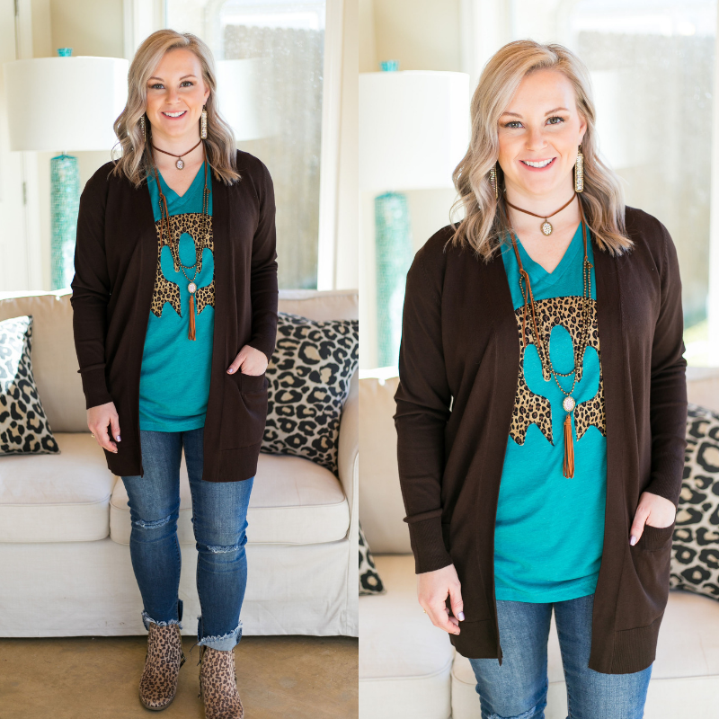 Beat The Chill Basic Knit Cardigan in Chocolate Brown