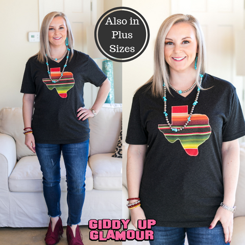 Blame It On Texas Serape V Neck Tee Shirt in Black Triblend
