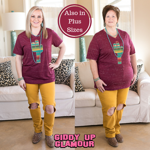 The Wild West Serape Cactus V Neck Tee Shirt in Maroon Marble