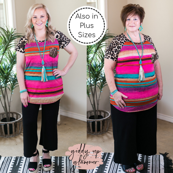 Fashionable Chatter Serape and Leopard Print Top with Sequin Pocket in Hot Pink