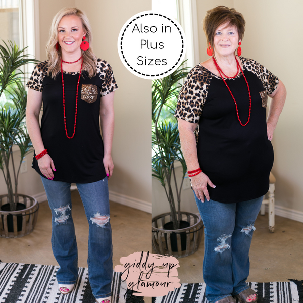 Fashionable Chatter Black and Leopard Print Top with Sequin Pocket