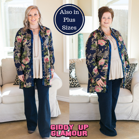 Find Your Fancy Floral Button Down Tunic Top with Velvet Accents in Navy Blue