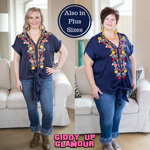Think It Through Floral Embroidery Tie Top in Navy Blue