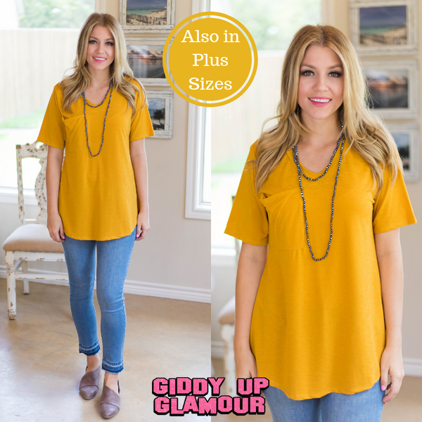 Just Right Short Sleeve Pocket Tee in Mustard Yellow