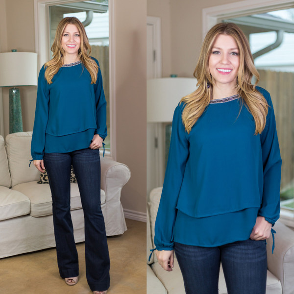 Glimmer in the Night Blouse with Beaded Neckline in Teal Blue