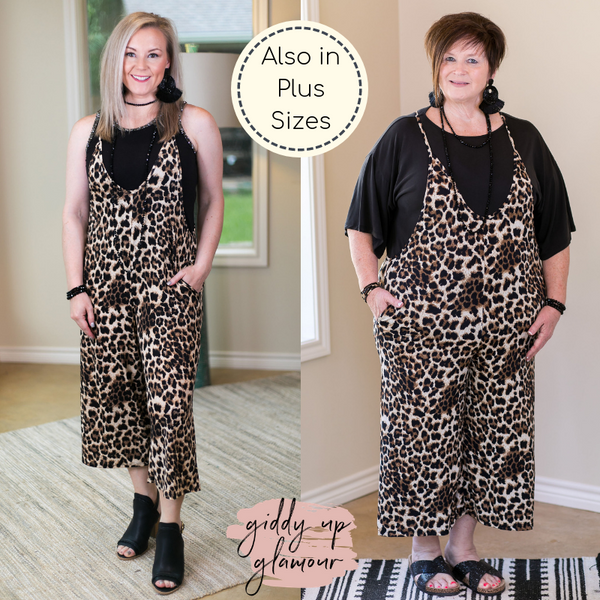 Heimish all she wrote Women's trendy plus size boutique clothing affordable curvy girl fashion full figured jumpsuit jumper romper overisized wide leg travel outfit blogger Instagram influencer leopard cheetah pockets