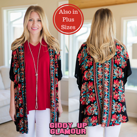 Surely Summer Floral Embroidered Kimono in Black