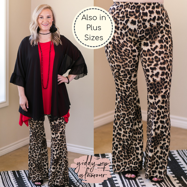 Go Out in style Women's trendy plus size boutique clothing affordable curvy girl fashion full figured wide leg travel outfit blogger Instagram influencer bell bottoms flare palazzo pants leopard cheetah