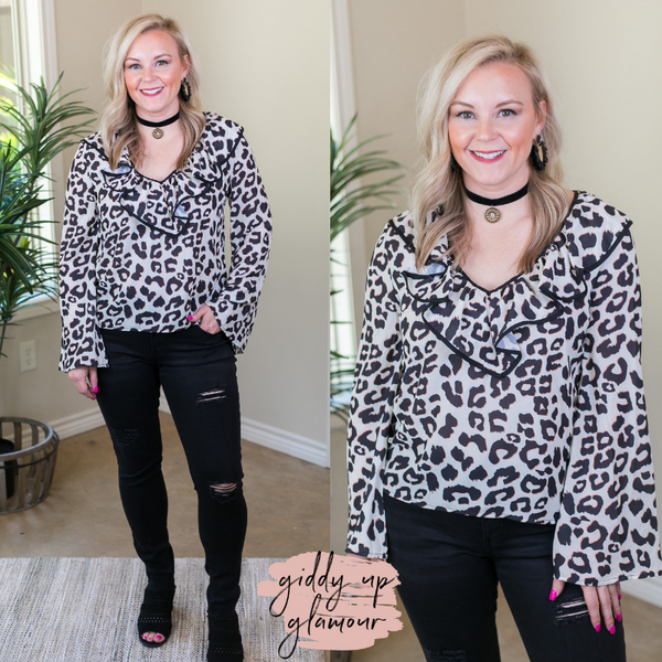 Light Me Up Leopard Top with Ruffle Collar in Ivory