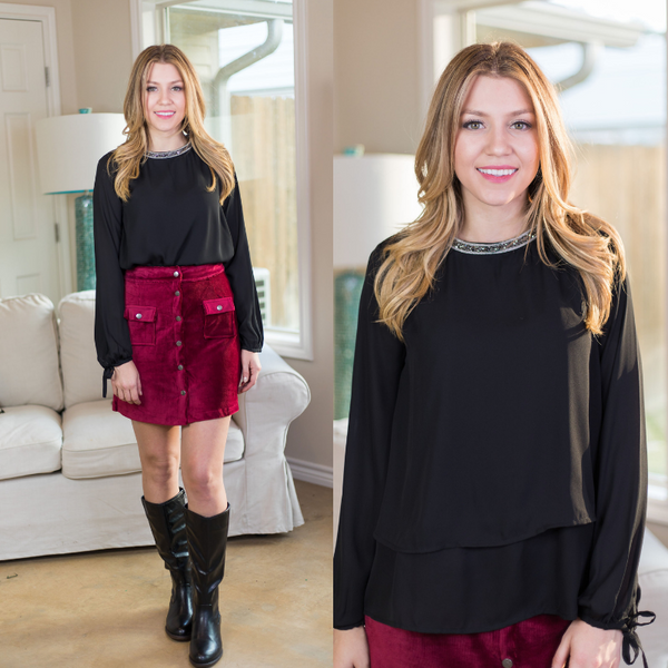 Glimmer in the Night Blouse with Beaded Neckline in Black