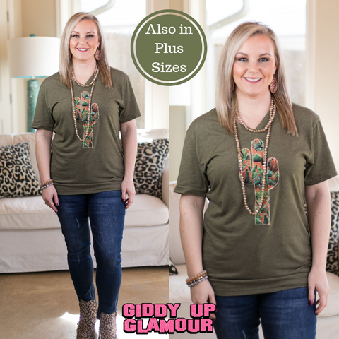The Wild West Serape Cactus Tee Shirt in Olive Green