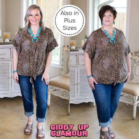 Every Meow and Again Button Up Tie Top in Leopard