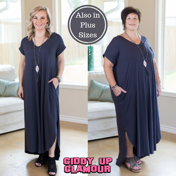 a2da56b56511 Simple Love Tee Shirt Maxi Dress in Charcoal Grey – Giddy Up Glamour  Boutique
