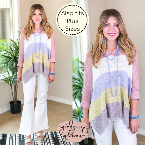 With All My Love Oversized Color Block Knit Sweater in Columbia Blue