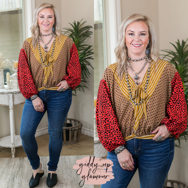 Art of Cool Puff Sleeve Mixed Print Blouse in Red mustard stripes camel polka dots gathered waist balloon sleeves v-neck