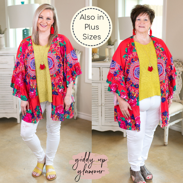 cd41f51b2 ... havana heartbeat Women's trendy plus size boutique clothing affordable  floral print kimono duster sheer cover up