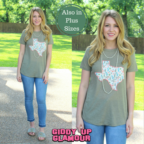 Texas Cactus Short Sleeve Tee Shirt in Light Olive