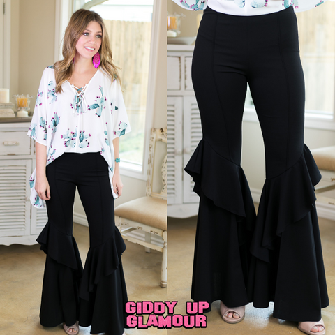 Stay Groovy Ruffled Bell Bottom Pants in Black
