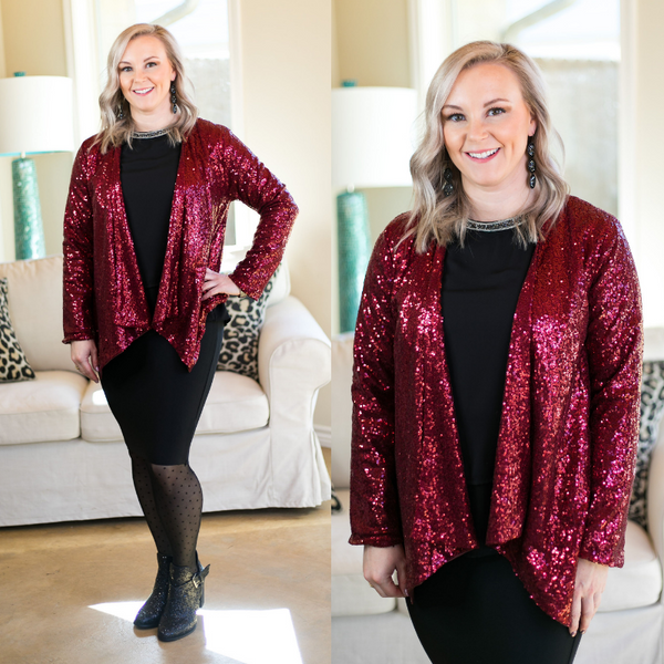 Glam Slam Sequin Blazer Jacket in Maroon