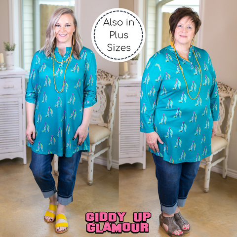 Wild Out West Multi Color Cactus 3/4 Sleeve Top in Turquoise