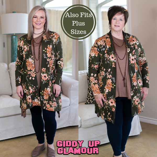 Garden Party Floral Print Cardigan in Olive Green