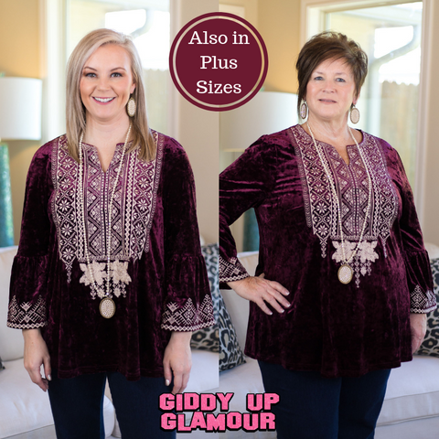 The Shape of Love Bell Sleeve Top with Embroidery in Maroon
