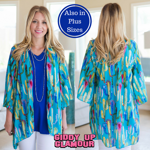 3bcc594601342 Wild Thoughts Colorful Cactus Kimono in Turquoise ...